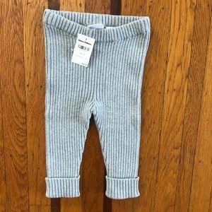 NWT Hanna Anderson gray infant ribbed leggings 75